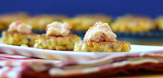 Corn Fritter topped with Pimento Cheese - Feed Your Soul Too