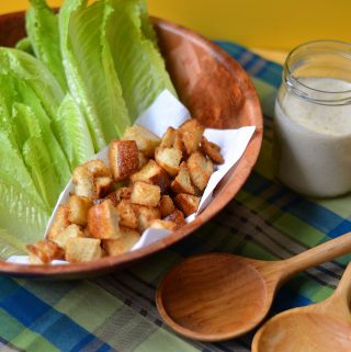 Deconstructed Caesar Salad – Garlic Croutons & Greek Yogurt Caesar Dressing