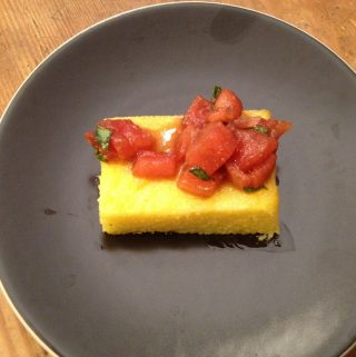 Bruschetta over Grilled Polenta