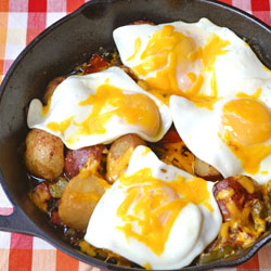 Fried Eggs over Potatoes rendered in Chicken Fat