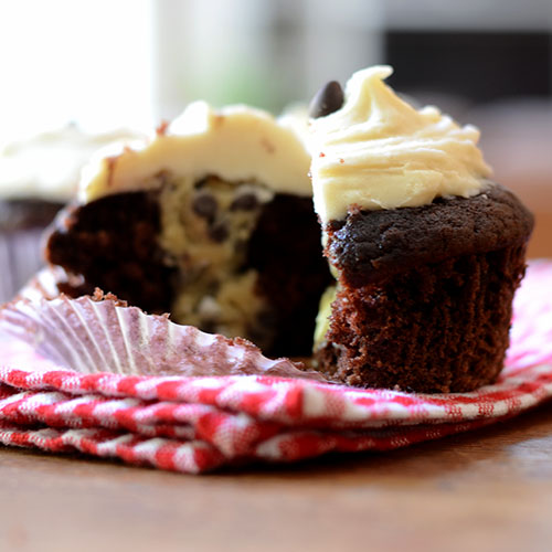 cupcake, chocolate, cookie dough, butter cream, frosting, chips