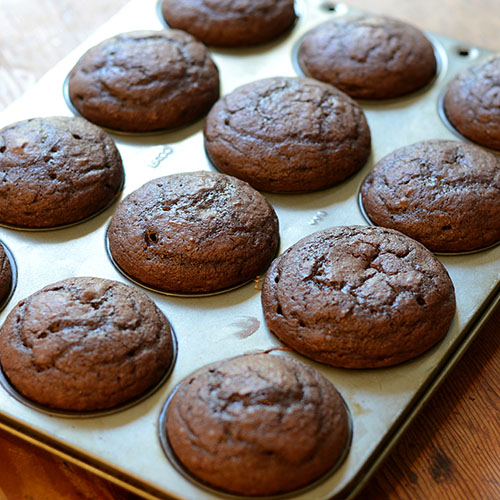 cupcakes after baking, chocolate, flour, butter