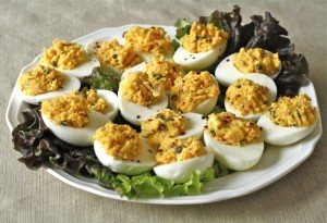 salmon deviled eggs plated