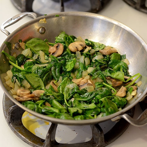 spinach, mushrooms, onions