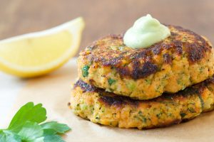 Wild-Salmon-Sweet-Potato-and-Broccoli-Patties-with-Avocado-Citrus-Sauce