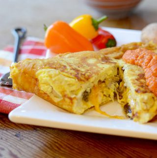 Veggie Omelet with Romesco Sauce