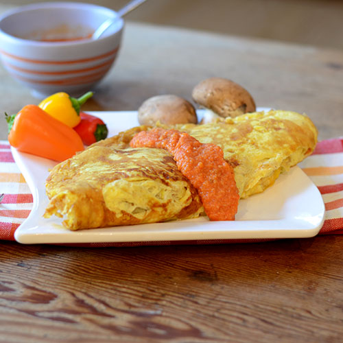 """Veggie Omelet with Romesco Sauce #omelet #romesco #breakfast / feedyoursoul2.com"""