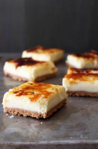 Creme-Brule-Cheesecake-Bars, dairy, caramel, sugar, dessert