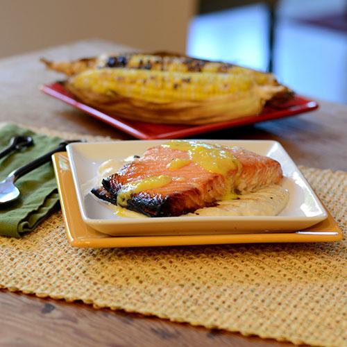 seafood, fish, cedar plank, glaze, maple, puree