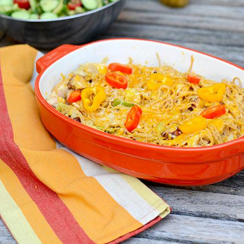 Cajun pasta, Andouille sausage, cheese sauce, noodles, vegeatbles, saute, peppers, onions, cajun spices