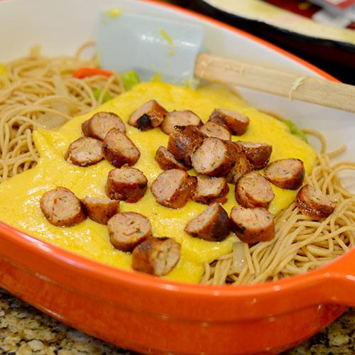 Andouille sausage, cheese sauce, noodles, vegeatbles, saute, peppers, onions, cajun spices