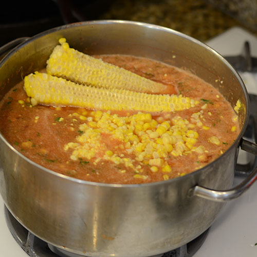 Corn, cobs, soup, tomatoes, boiling, simmering