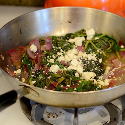 Feta, onions, wilted spinach, garlic