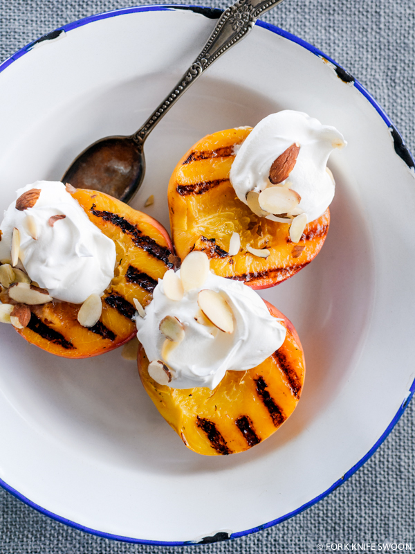 Grilled Peaches, cream,almonds