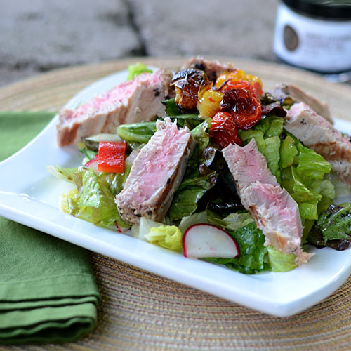 tuna, salad, vegetables, healthy, roasted, tomatoes, peppers, radishes