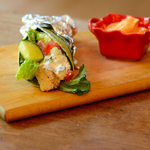 Greek, sandwich, wrap, chicken, yogurt, fat-free, sauce, vegetables