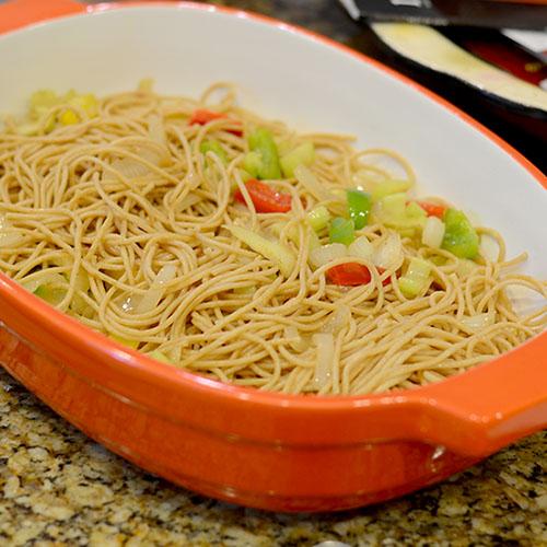 Noodles, vegeatbles, saute, peppers, onions, cajun spices