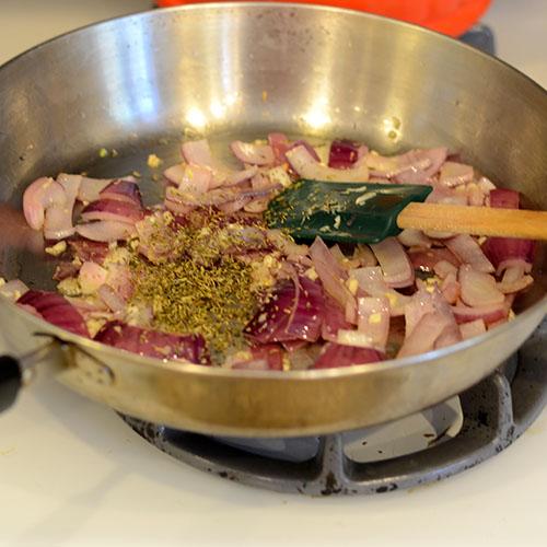 Onions, herbs, saute, garlic