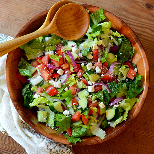 greek salad, lettuce, cucumber, tomatoes, onions, feta, cheese, dairy, dressing