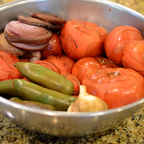 Vegetalbes, smoking, tomatoes, jalapenos, garlic, onions