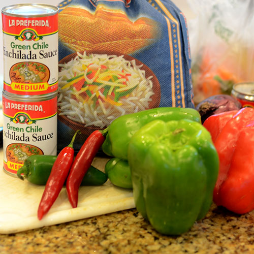 ingredients, rice, mexican, peppers, onions, enchilada sauce, tomatoes, toasting
