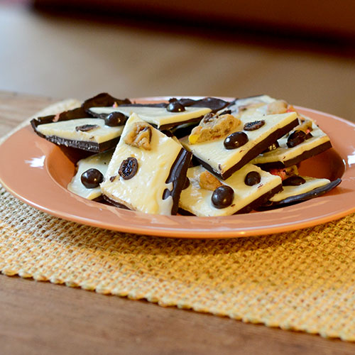 Dove chocolate, chocolate, cranberries, fruit, cookies, bark, cream