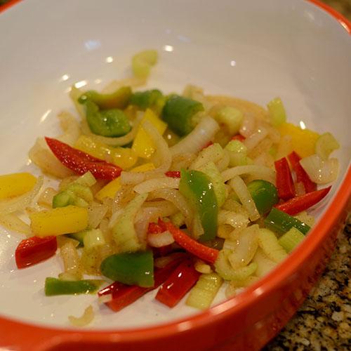 vegeatbles, saute, peppers, onions, cajun spices