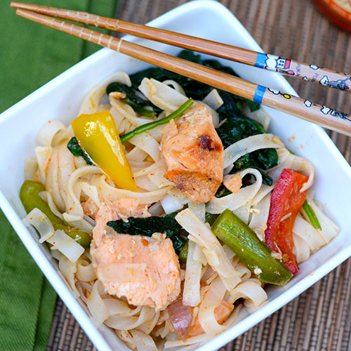 salmon, Chinese noodles, Chinese Five Spice, sweet chili sauce, vinegar, peppers, onions,