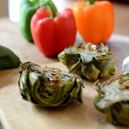 artichokes, grilled, lemon, garlic