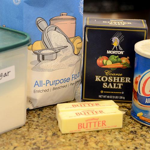Crust Ingredients, flour, butter, shortening, sugar