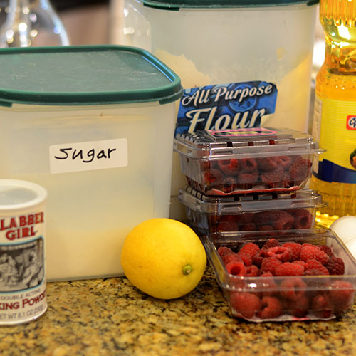 raspberries, flour, cinnamon, streussel, sugar, butter, sour cream, baking powder, baking soda, salt, eggs