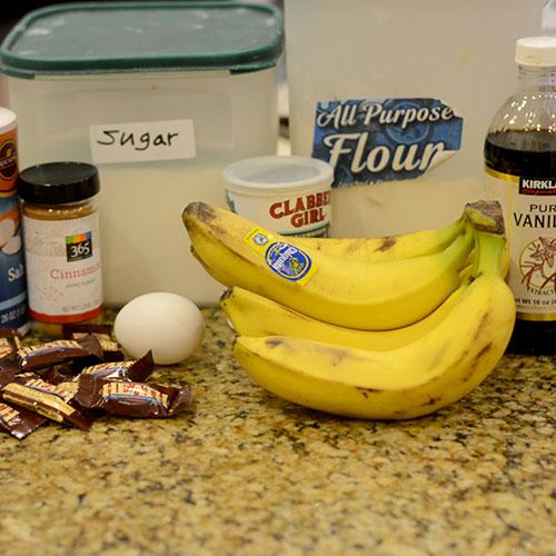 Ingredients, donut, banana, heath bar, toffee, flour, cinnamon, salt, baking powder, dulce de leche, buttermilk, vanilla