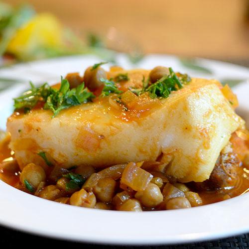 sea bass, chickpeas, saffron, broth, garlic, tomato,