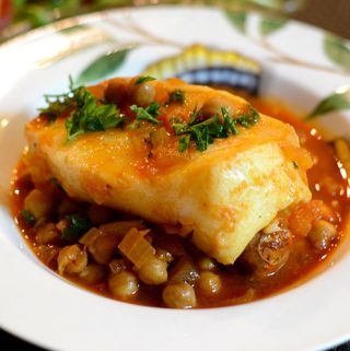 Spanish Sea Bass with Chickpeas