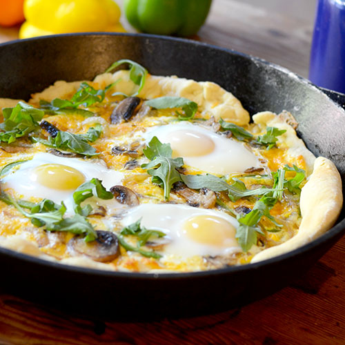 pizza, dough, yeast, olive oil, eggs, arugula, green peppers, mushrooms, onions, cheese