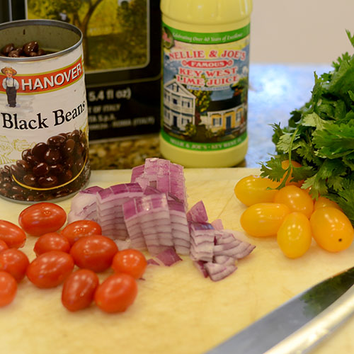 Ingredients, black beans, corn, salsa, cilantro, lime juice, red onions, tomatoes, olive oil