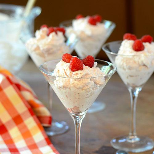 marscapone, whipped cream, raspberries, raspberry jam