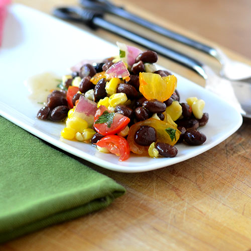 black beans, corn, salsa, cilantro, lime juice, red onions, tomatoes, olive oil