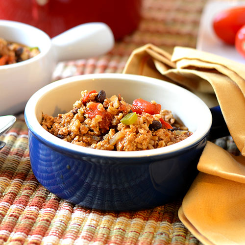 ancho turkey chili, ground turkey, farro, stock, red onion, salt, peppers, fire roasted tomatoes, Mexican chili powder, olive oil