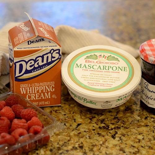 ingredients, marscapone, whipped cream, raspberries, raspberry jam