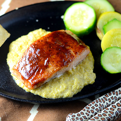 BBQ Salmon, BBQ sauce, Old Bay Seasoning, salt, pepper, oil, cast iron skillet