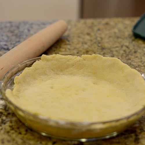 Dough in pie shell