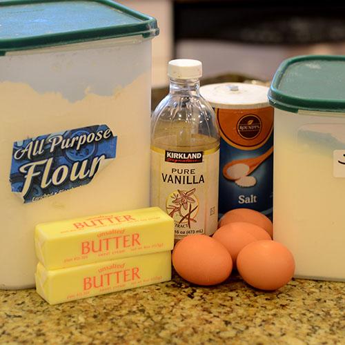 Ingredients, flour, sugar, eggs, butter, vanilla and salt