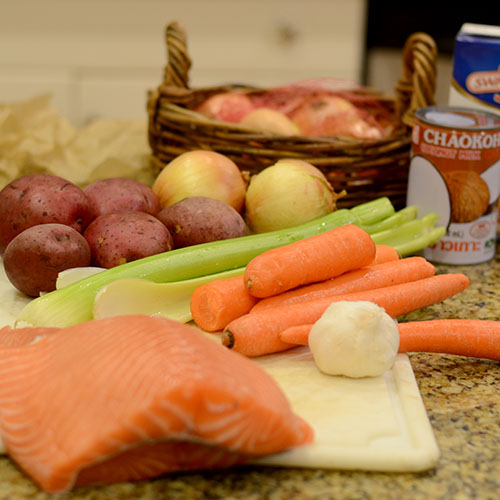Ingredients, salmon, potatoes, celery, carrots, chicken stock, coconut milk, Old bay seasoning, salt, pepper