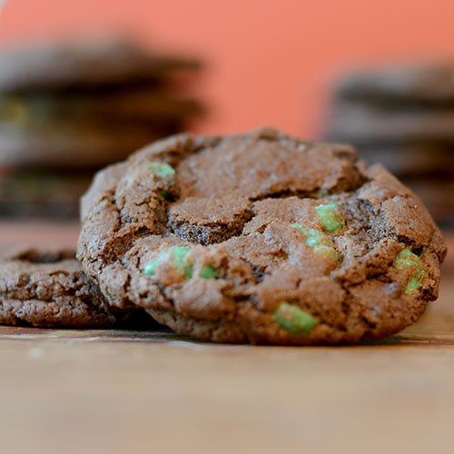 Chocolate Cookies with Mint Chips