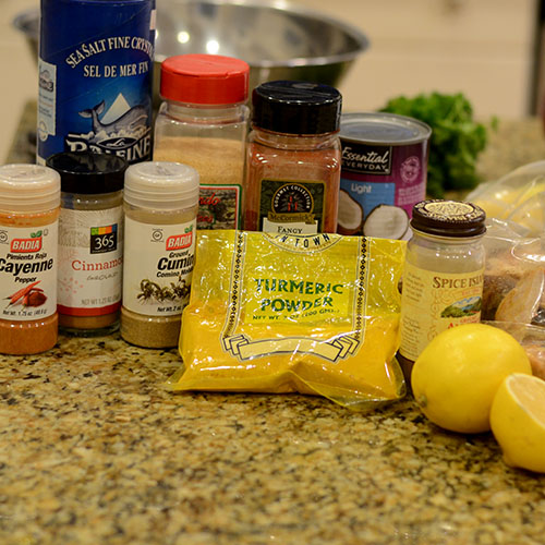 Ingredients, cayenne, cinnamon, cumin, turmeric, allspice, lemon, paprika, garlic, coconut milk, turkey, sea salt
