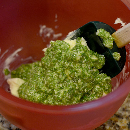 Pesto Added to Softened Butter