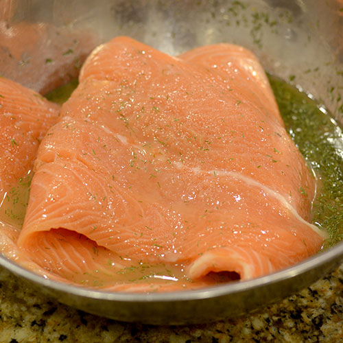 Salmon in cure