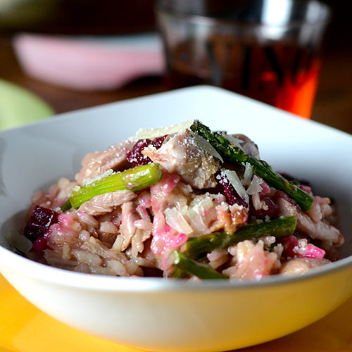 Duck Beet Risotto /www.feedyoursoul2.com