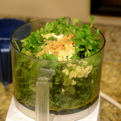 Chimichurri Ingredients in Food Processor